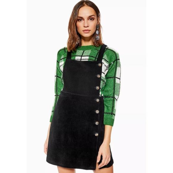 Topshop Dresses & Skirts - Topshop | Black Button Corduroy Pinafore Dress 10